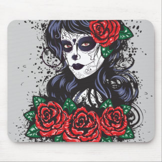Vintage sugar skull girl with roses v10 mouse pad