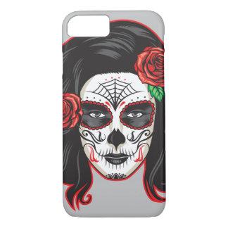 Vintage sugar skull girl with roses V12 iPhone 8/7 Case