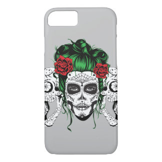 Vintage sugar skull girl with roses v13 iPhone 8/7 case