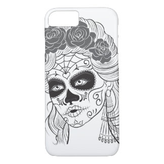 Vintage sugar skull girl with roses v9 iPhone 8/7 case