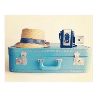 Vintage Suitcase Blank Postcard