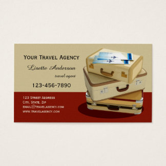 Vintage Suitcase Travel Agency Business Card