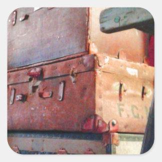Vintage Suitcases Square Sticker