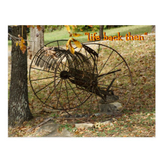 vintage sulky hay rake postcard- customize postcard