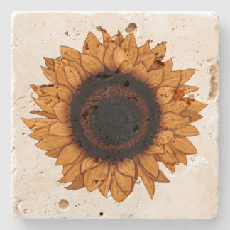 Vintage Summer Bloom Realistic Orange Sunflower Stone Coaster