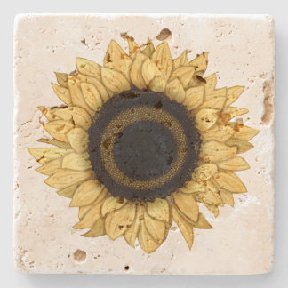 Vintage Summer Bloom Yellow Sunflower Coaster Stone Beverage Coaster