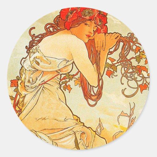 Vintage Summer by Alphonse Mucha Classic Round Sticker