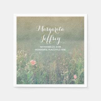 Vintage summer meadow wedding paper napkins
