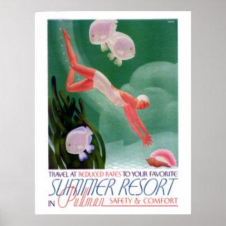 Vintage Summer Resort Railway Travel Poster