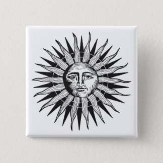Vintage Sun 2 Inch Square Button