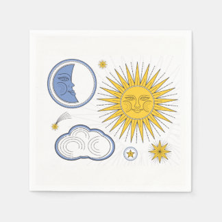 Vintage Sun and Moon Disposable Napkins