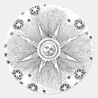 Vintage sun and stars celestial medieval sky drawi classic round sticker