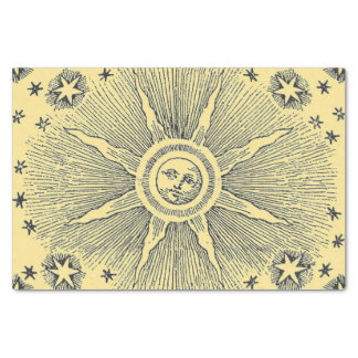 Vintage sun and stars celestial medieval sky drawi tissue paper
