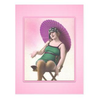 Vintage Sun Bather Beach Babe Postcard