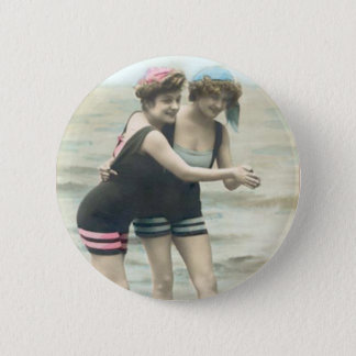 Vintage Sun Bathers Beach Round Button