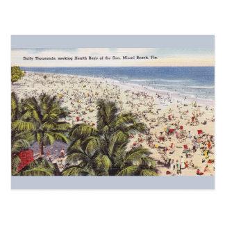 Vintage Sun Bathing Miami Beach Florida Post Card
