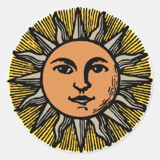 Vintage sun face classic round sticker