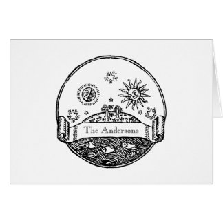Vintage Sun Moon Stars Ocean Planet Earth Drawing Card