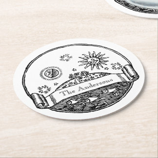 Vintage Sun Moon Stars Ocean Planet Earth Drawing Round Paper Coaster