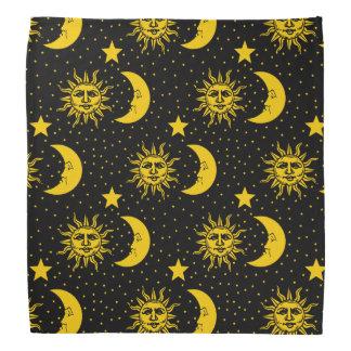 Vintage Sun Moon Stars Pattern Kerchiefs