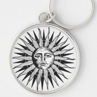 Vintage Sun Silver-Colored Round Keychain