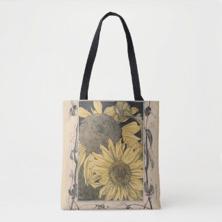 vintage sunflower art, floral design tote bag