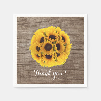 Vintage Sunflower Barn Wood Wedding Thank You Disposable Napkins