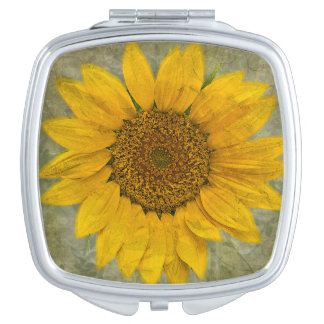 Vintage Sunflower Compact Mirror