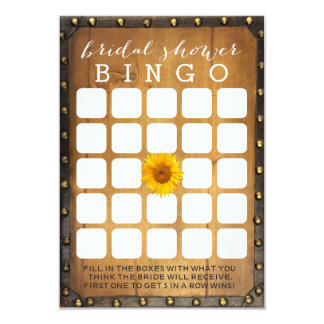 Vintage Sunflower Country Bridal Shower Bingo Game Card