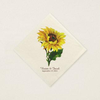 Vintage Sunflower Custom Wedding Napkins Disposable Napkins