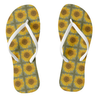 Vintage Sunflower Flip Flops
