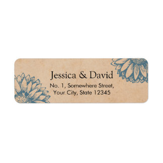 Vintage Sunflower Floral Wedding Kraft Return Address Label