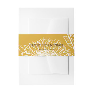 Vintage Sunflower | Invitation Belly Band Wrap