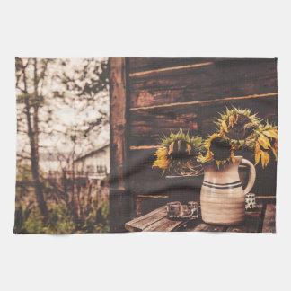Vintage sunflower kitchen towel
