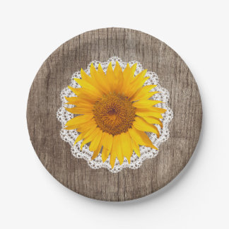 Vintage Sunflower Lace Barn Wood Rustic Wedding Paper Plate