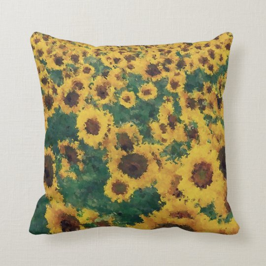 Vintage Sunflower painting art - Pillow