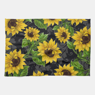 Vintage sunflower pattern kitchen towel
