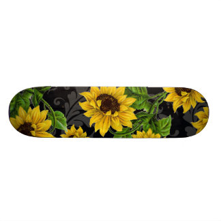 Vintage sunflower pattern skateboards