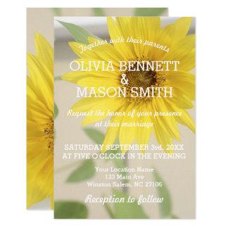 Vintage Sunflower textured Wedding Card