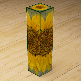 Vintage Sunflower Wine Box