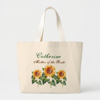 Vintage Sunflowers Mother of the Bride Custom Name Large Tote Bag