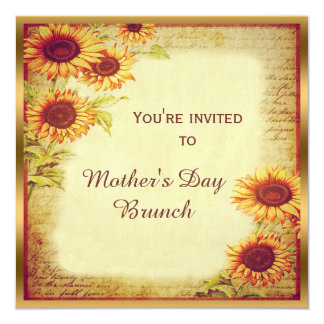 """Vintage Sunflowers Mother's Day Brunch 5.25"""" Square Invitation Card"""