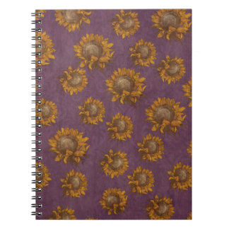 Vintage Sunflowers Plum Purple Rustic Sunflower Notebook