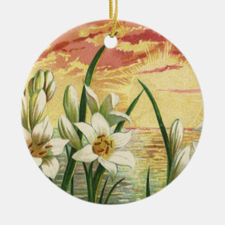 Vintage Sunrise Easter Lilies and Victorian Angels Round Ceramic Ornament