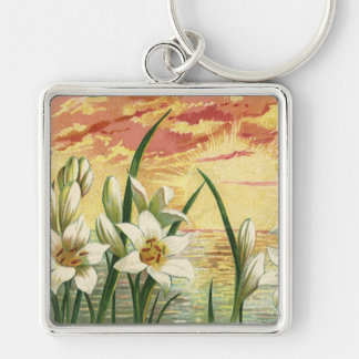Vintage Sunrise Easter Lilies and Victorian Angels Silver-Colored Square Keychain
