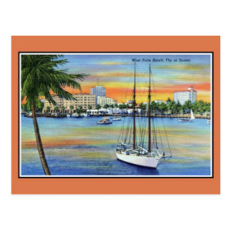 Vintage Sunset at West Palm Beach Florida Postcard