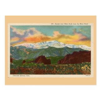 Vintage Sunset over Pikes Peak, Colorado Springs Postcard