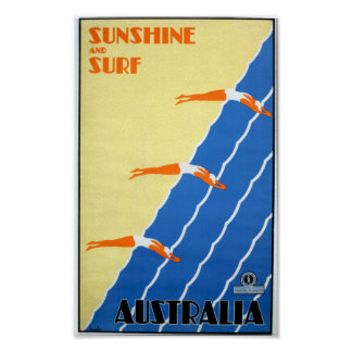 Vintage Sunshine and Surf in Australia Travel Poster