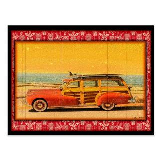 vintage surf woodie postcard