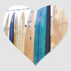 Vintage Surfboards on Montauk Beach Heart Sticker